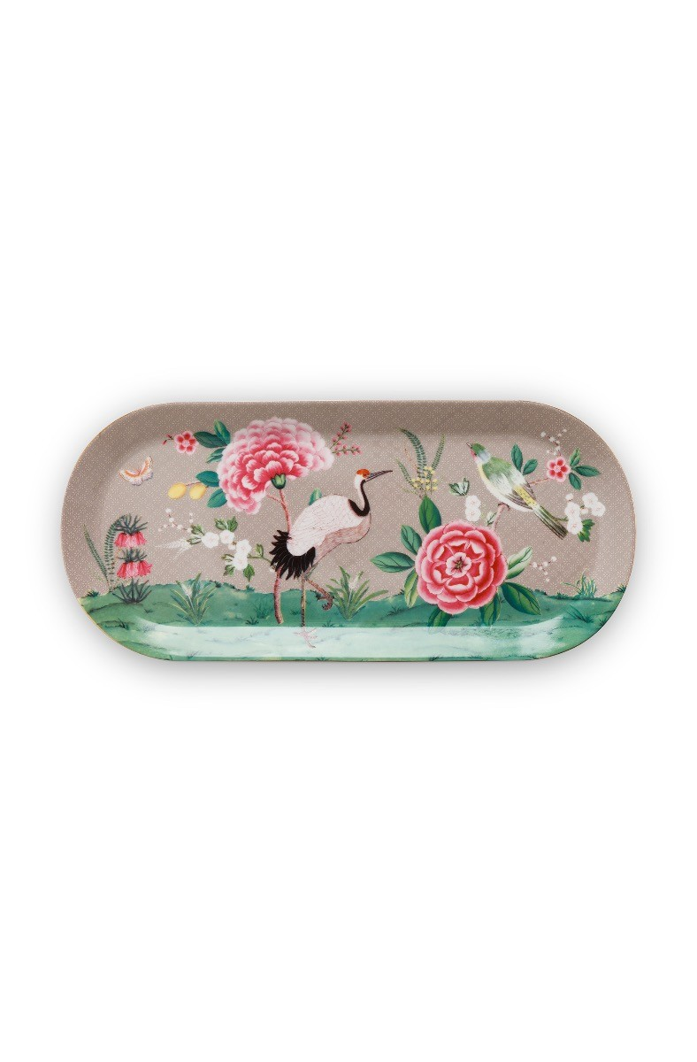 Color Relation Product Blushing Birds Rectangular Cake Platter Khaki 34 cm