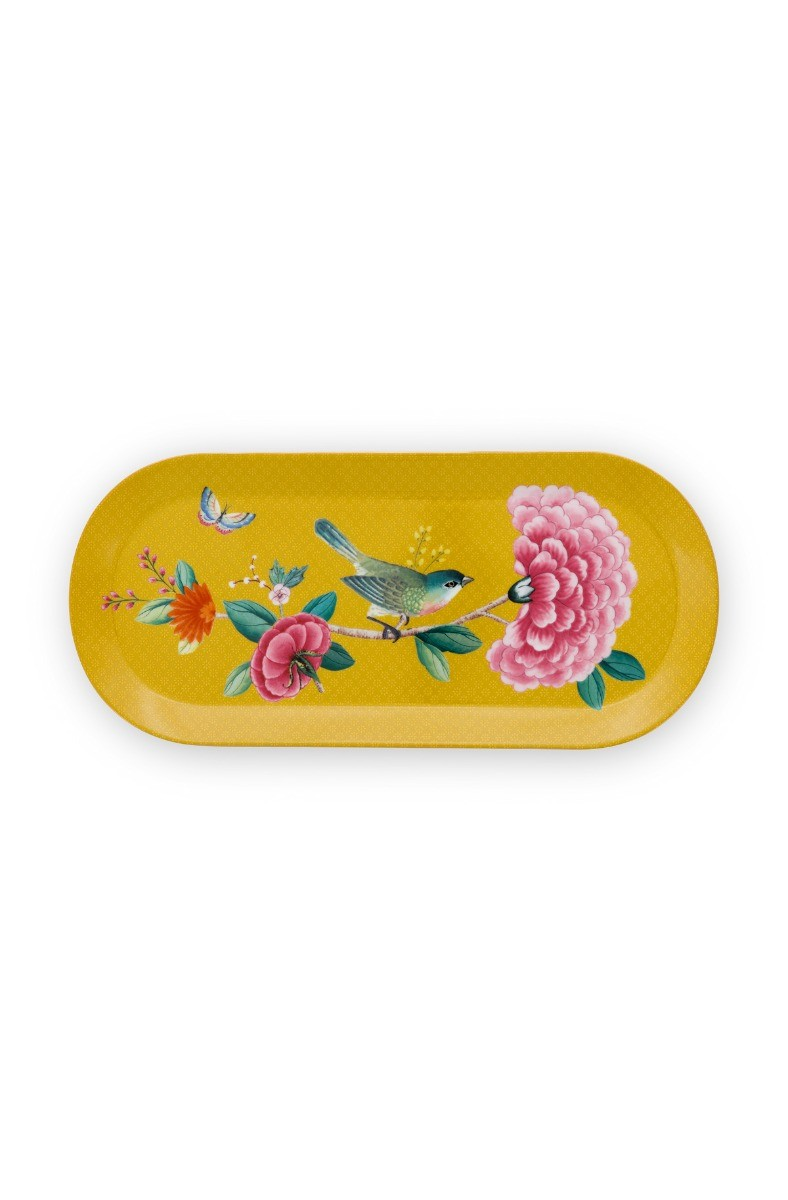 Color Relation Product Blushing Birds Rectangular Cake Platter Yellow 34 cm