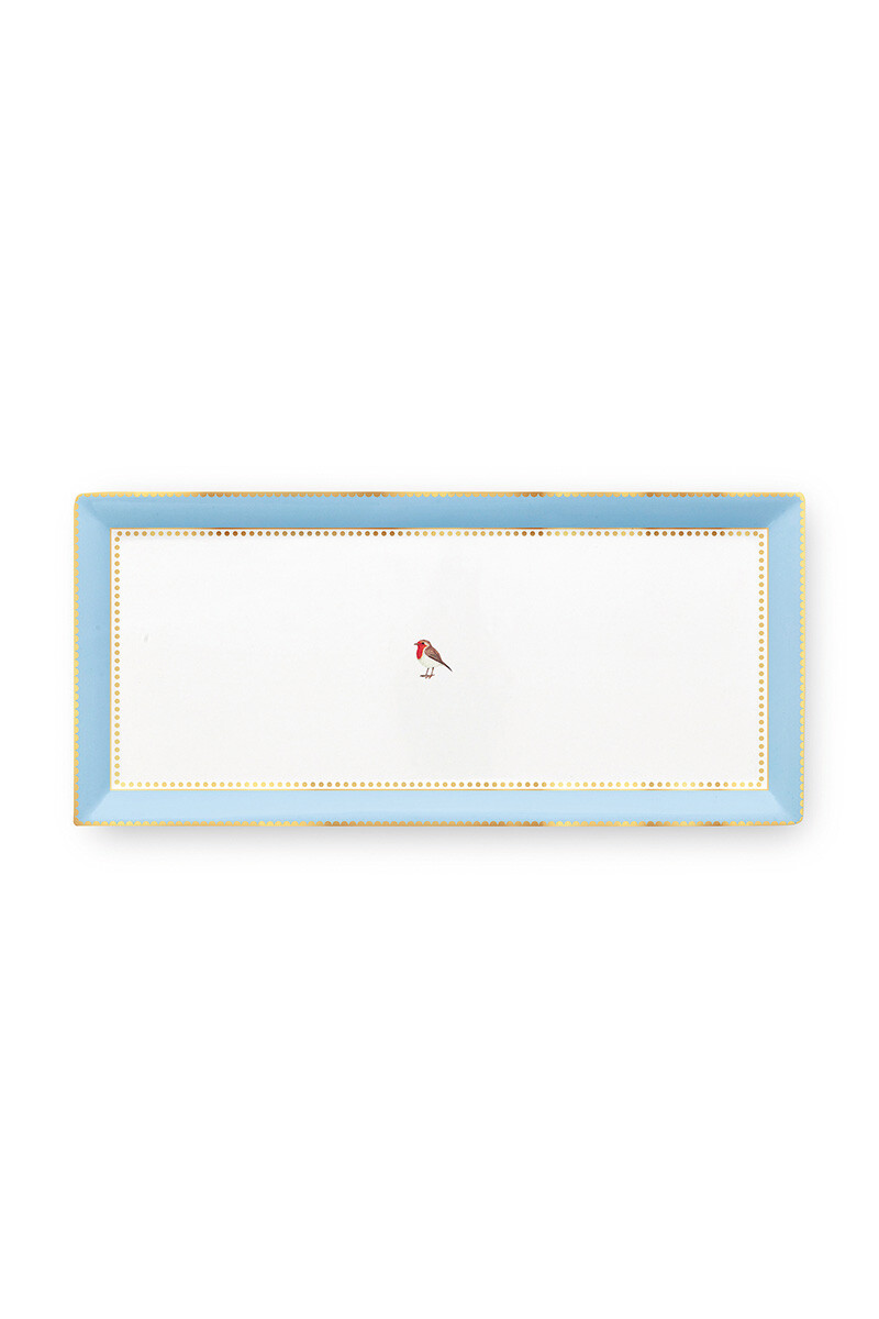 Color Relation Product Love Birds Cake Tray Rectangular Blue