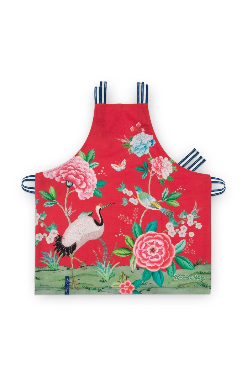 Color Relation Product Blushing Birds Kitchen Apron All-Over Print Red
