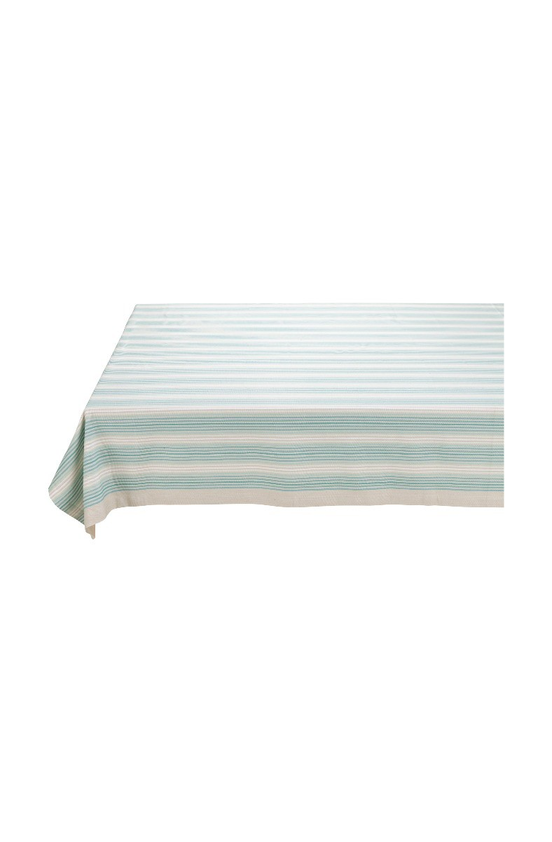 Color Relation Product Nappe Blushing Birds Rayures Bleu/kaki