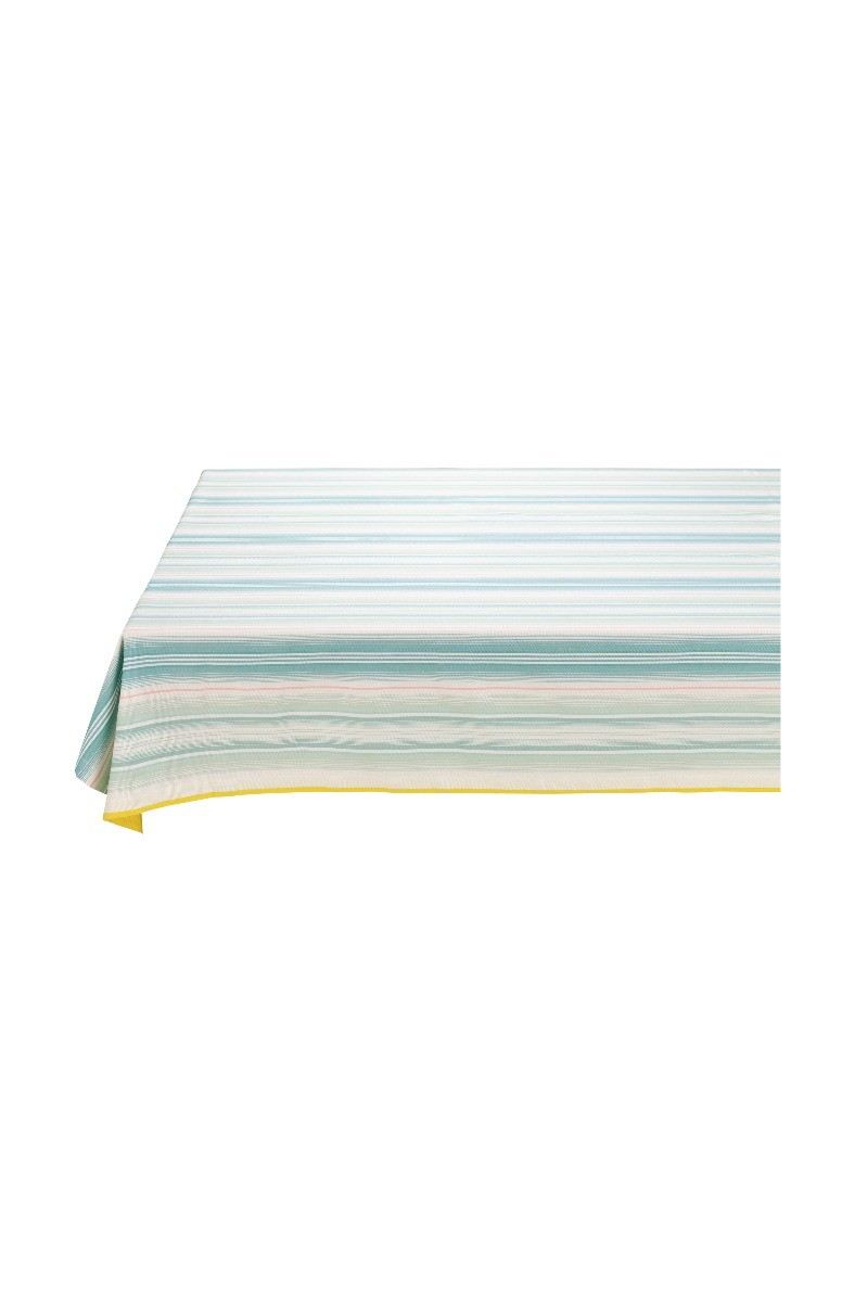 Color Relation Product Blushing Birds Table Cloth striped blue and pink