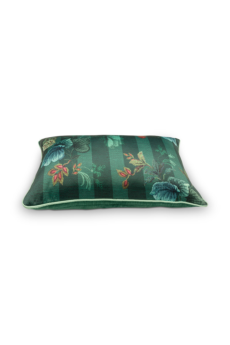Color Relation Product Cushion Rectangular Leafy Stitch Green