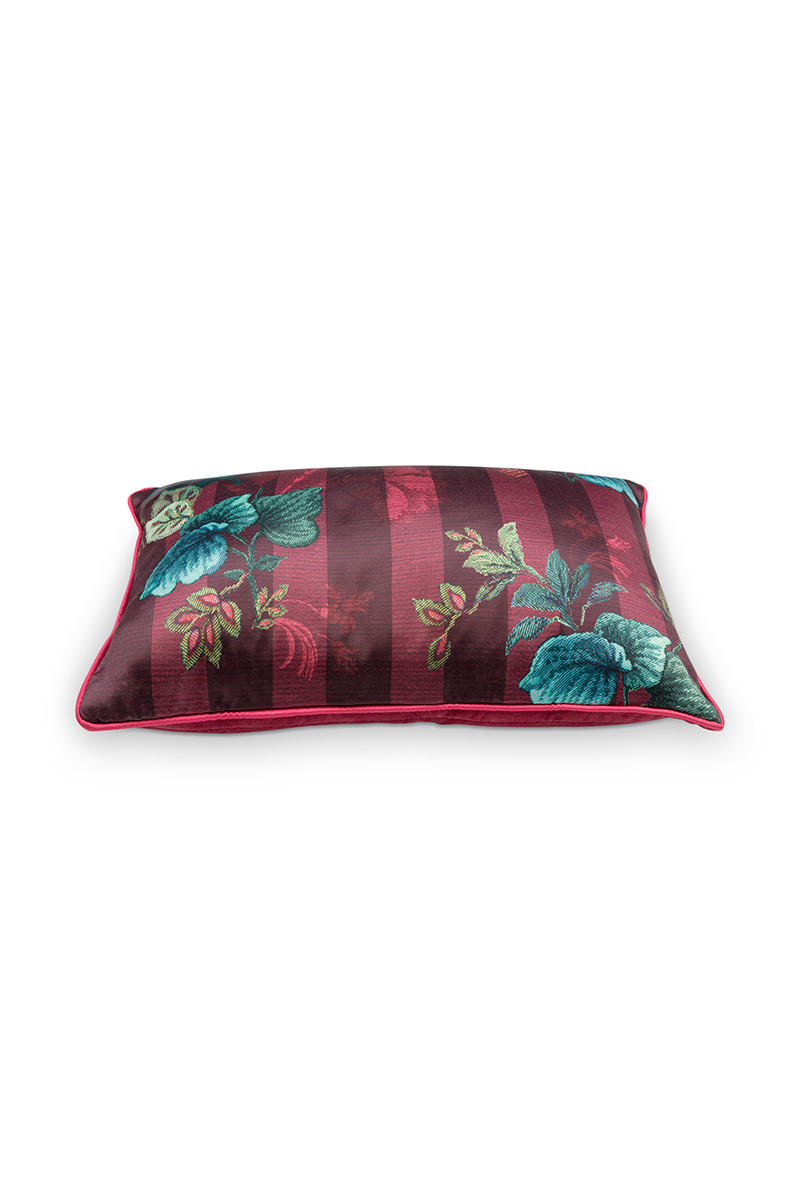 Color Relation Product Cushion Rectangular Leafy Stitch Red