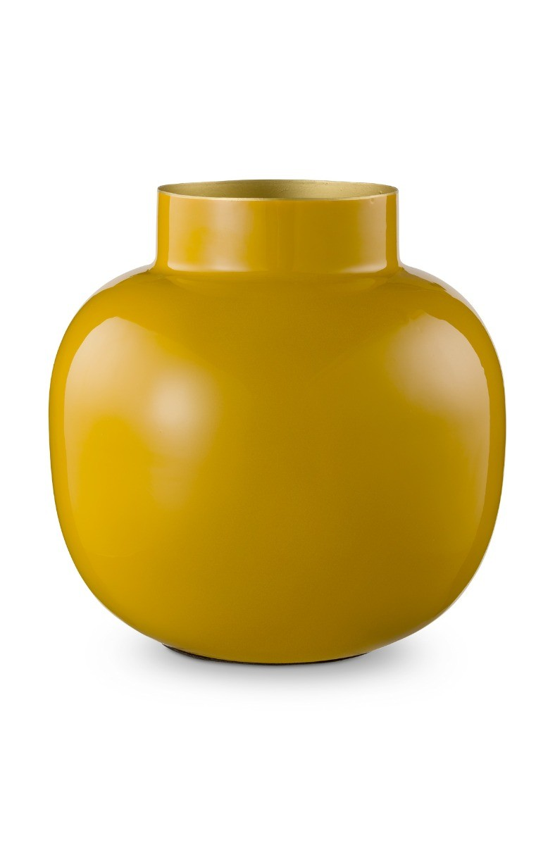 Color Relation Product Round Metal Vase Yellow 25 cm
