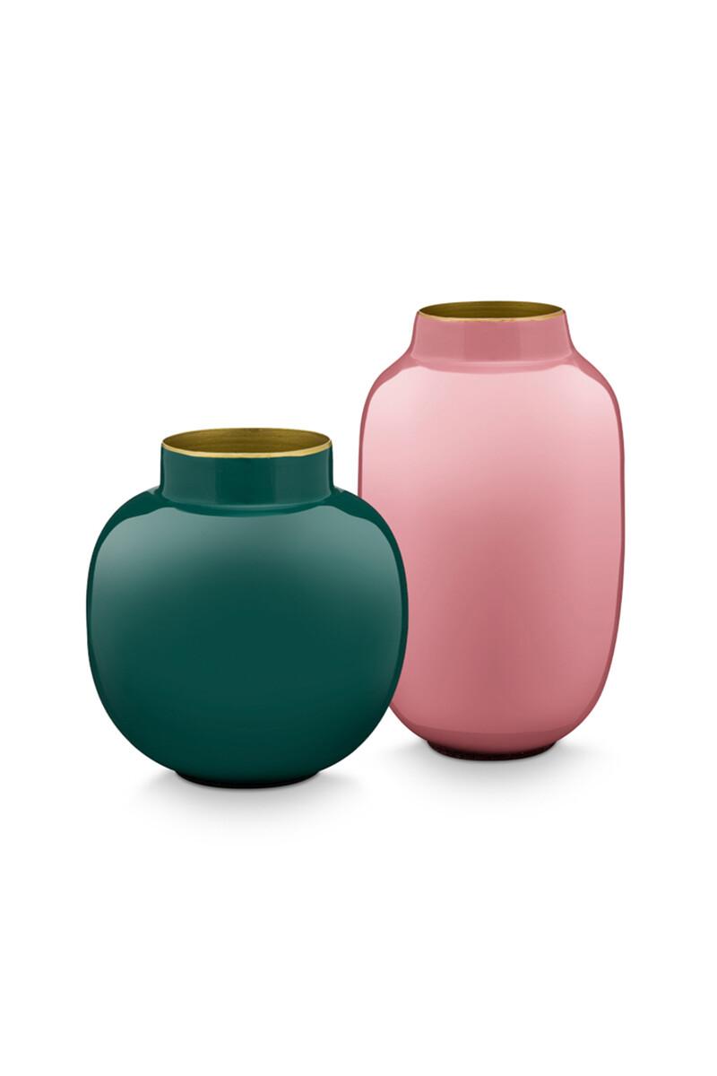 Color Relation Product Set Mini Vazen Oud Roze & Donkergroen