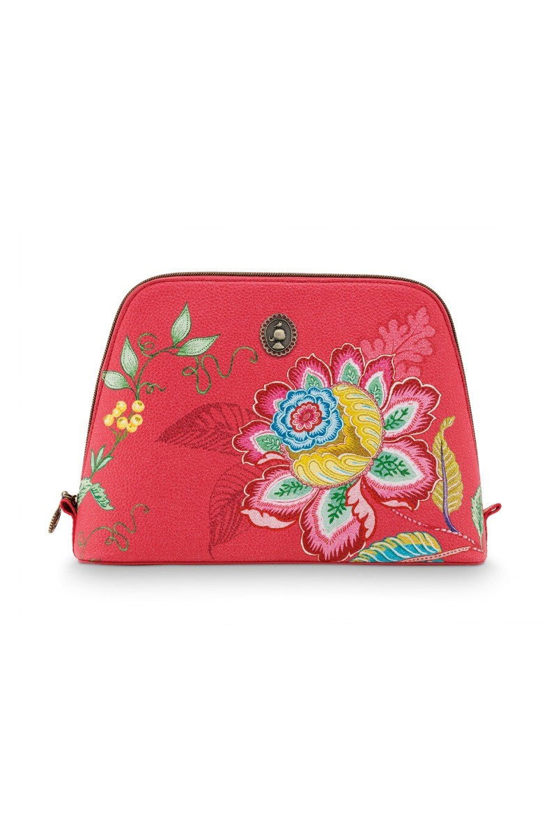 Color Relation Product Cosmetic Bag Triangle Large Jambo Flower Red