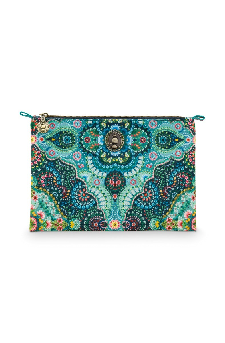 Color Relation Product Cosmetic Flat Pouch Medium Moon Delight Blue