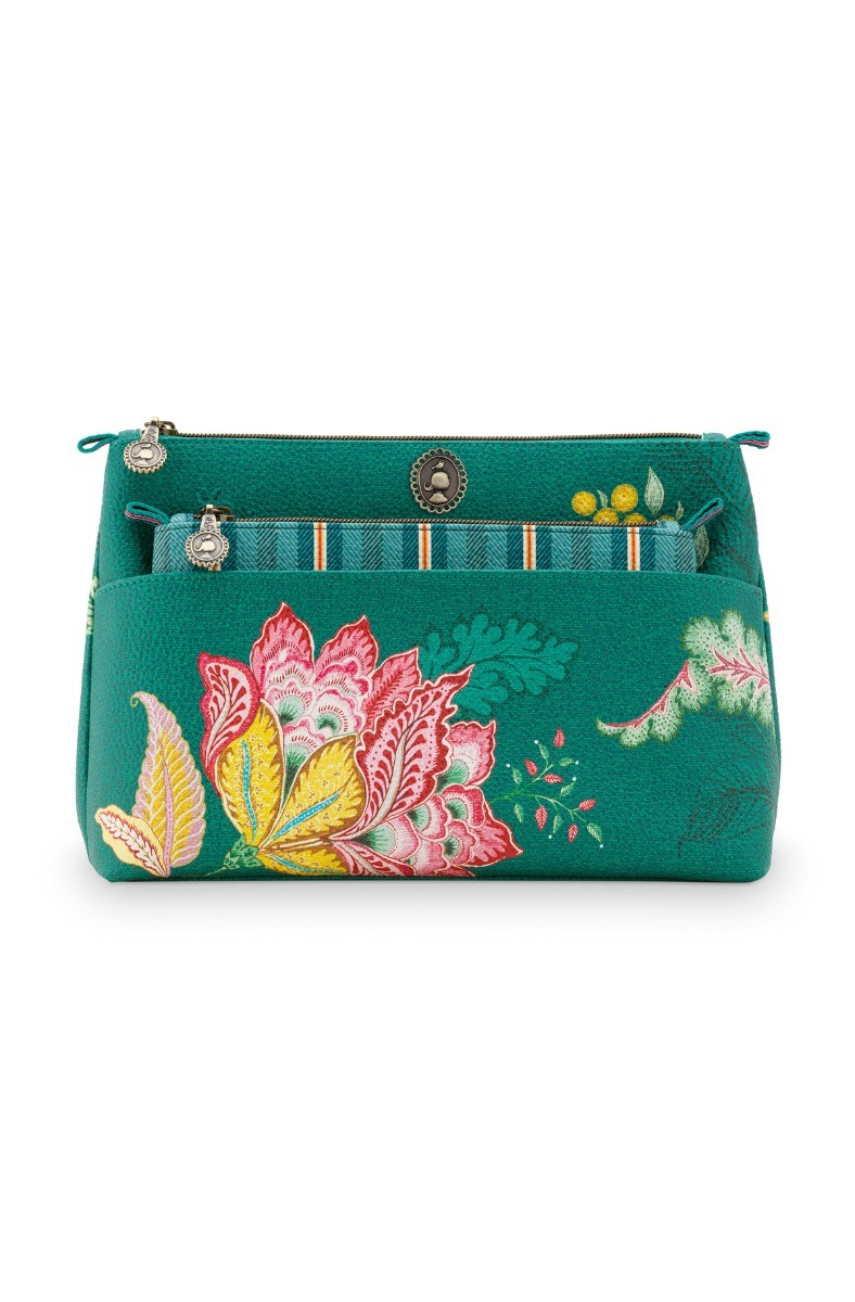 Color Relation Product Cosmetic Bag Combi Jambo Flowers Green