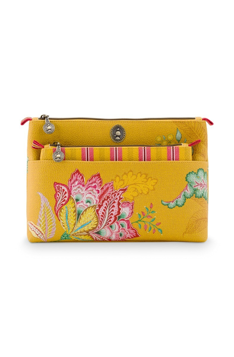 Color Relation Product Cosmetic Bag Combi Jambo Flower Yellow