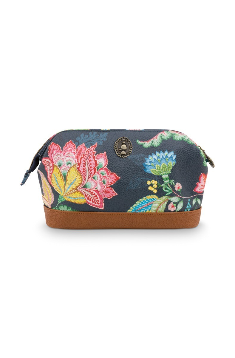 Color Relation Product Cosmetic Purse Medium Jambo Flower Blue