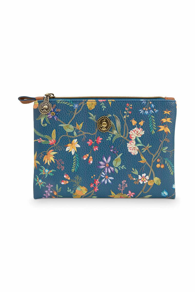 Color Relation Product Cosmetic Pouch Small Petites Fleurs/Star Tile Dark Blue