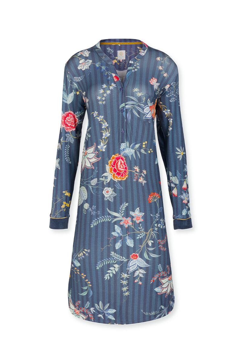 Color Relation Product Nightdress Long Flower Festival Dark Blue