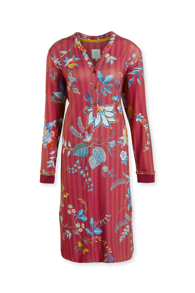 Color Relation Product Nightdress Long Flower Festival Red