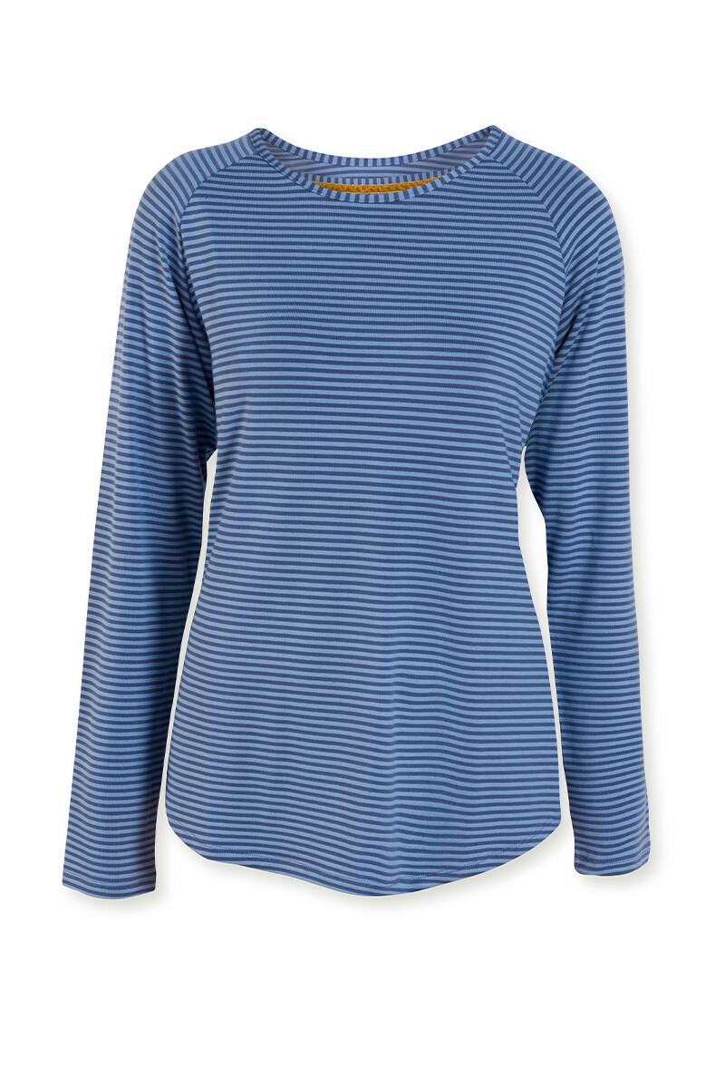 Color Relation Product Top Lange Mouw Tonal Stripe Blauw