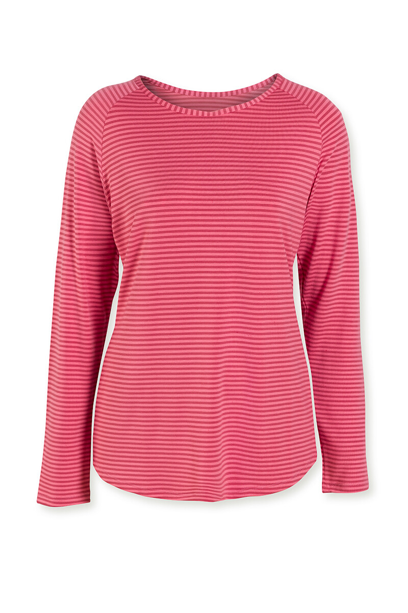 Color Relation Product Top Lange Mouw Tonal Stripe Rood