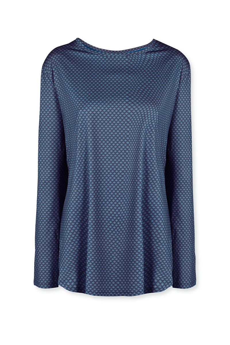 Color Relation Product Sport Shirt Lange Mouw Lace Flower Blauw