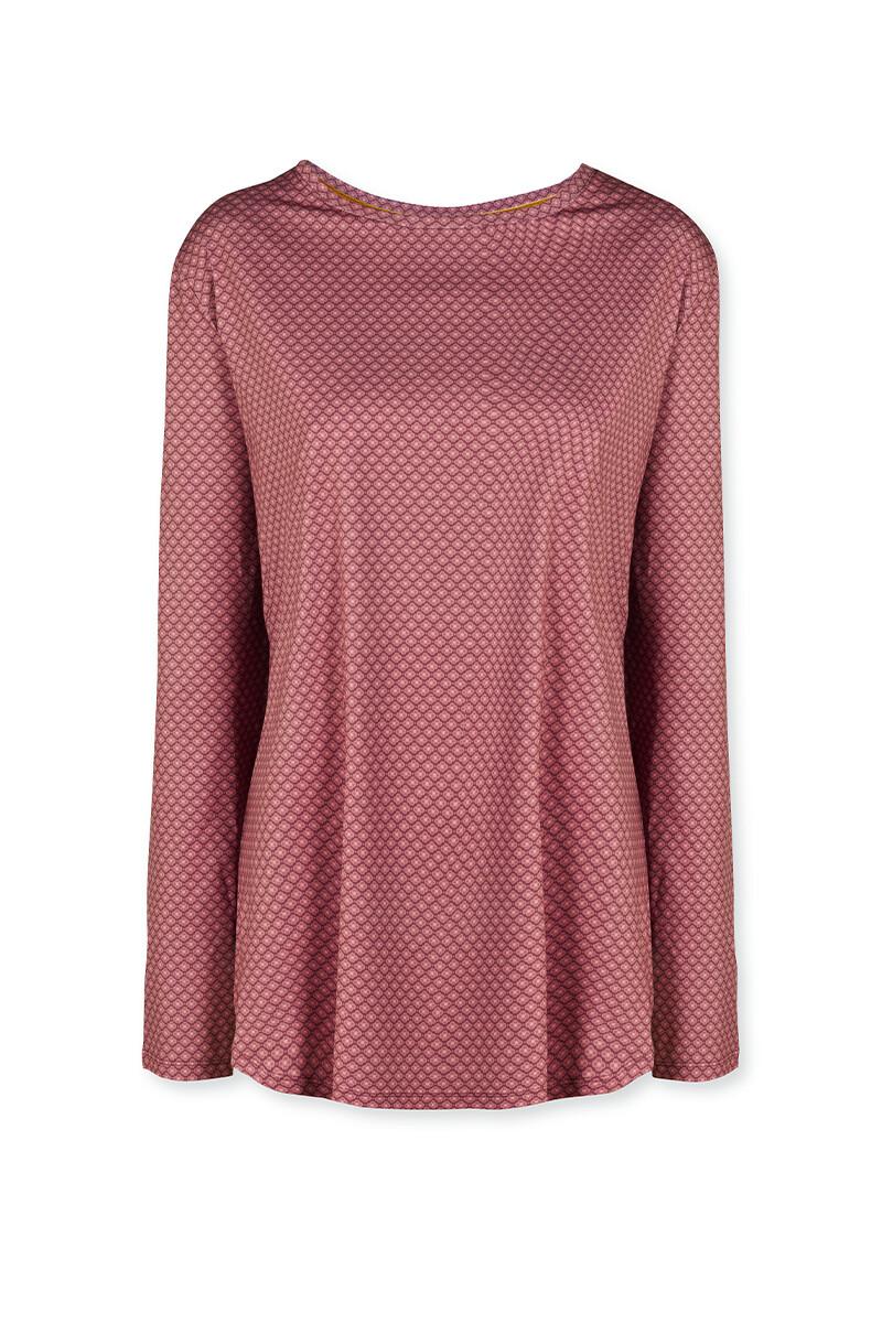 Color Relation Product Sport Shirt Lange Mouw Lace Flower Rood