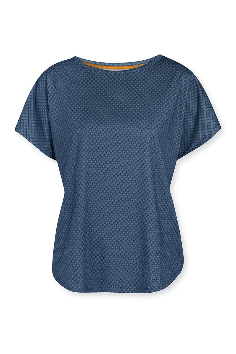 Color Relation Product Sport Shirt Short Sleeve Lace Flower Blue