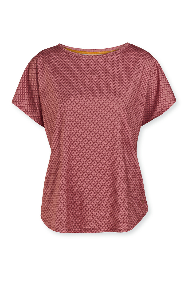 Color Relation Product Sport Shirt korte mouw Lace Flower Rood