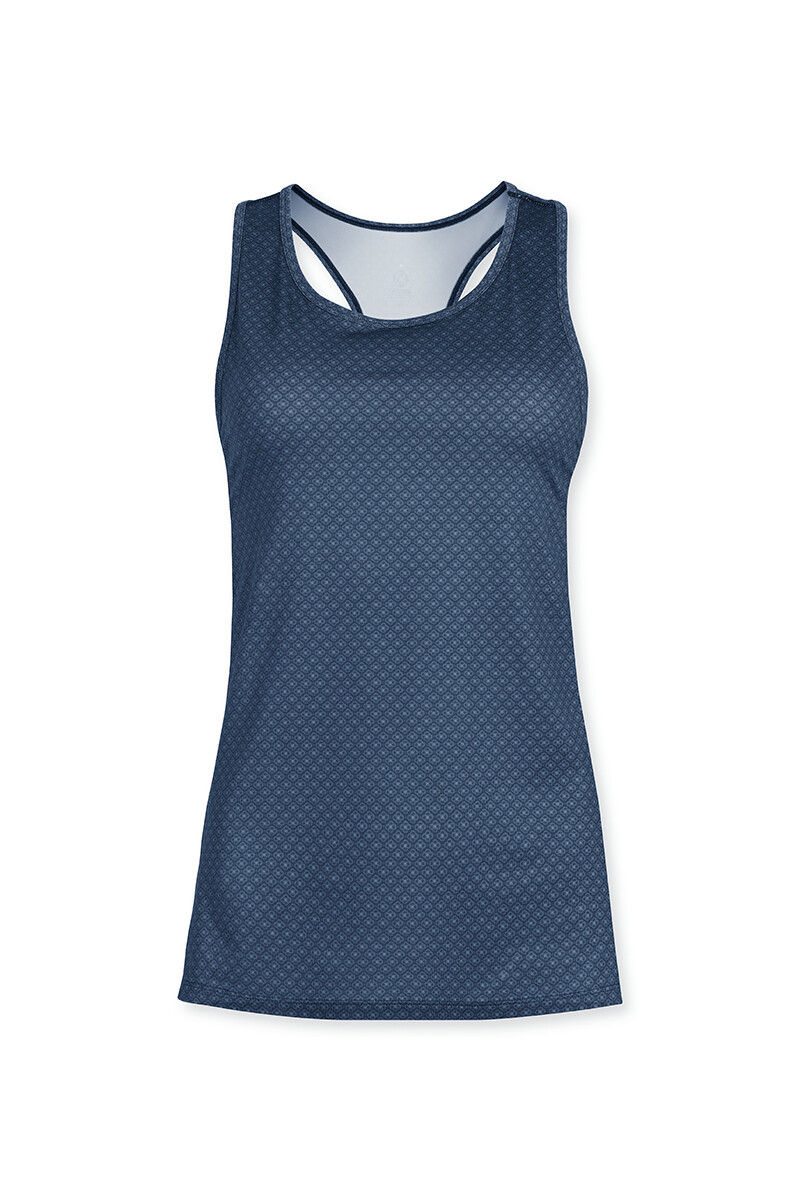 Color Relation Product Sport Top Sleeveless Lace Flower Blue