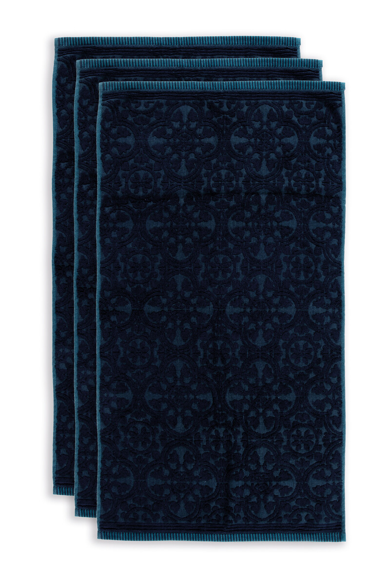 Color Relation Product Badhanddoek Set/3 Tile de Pip Donkerblauw 55x100 cm