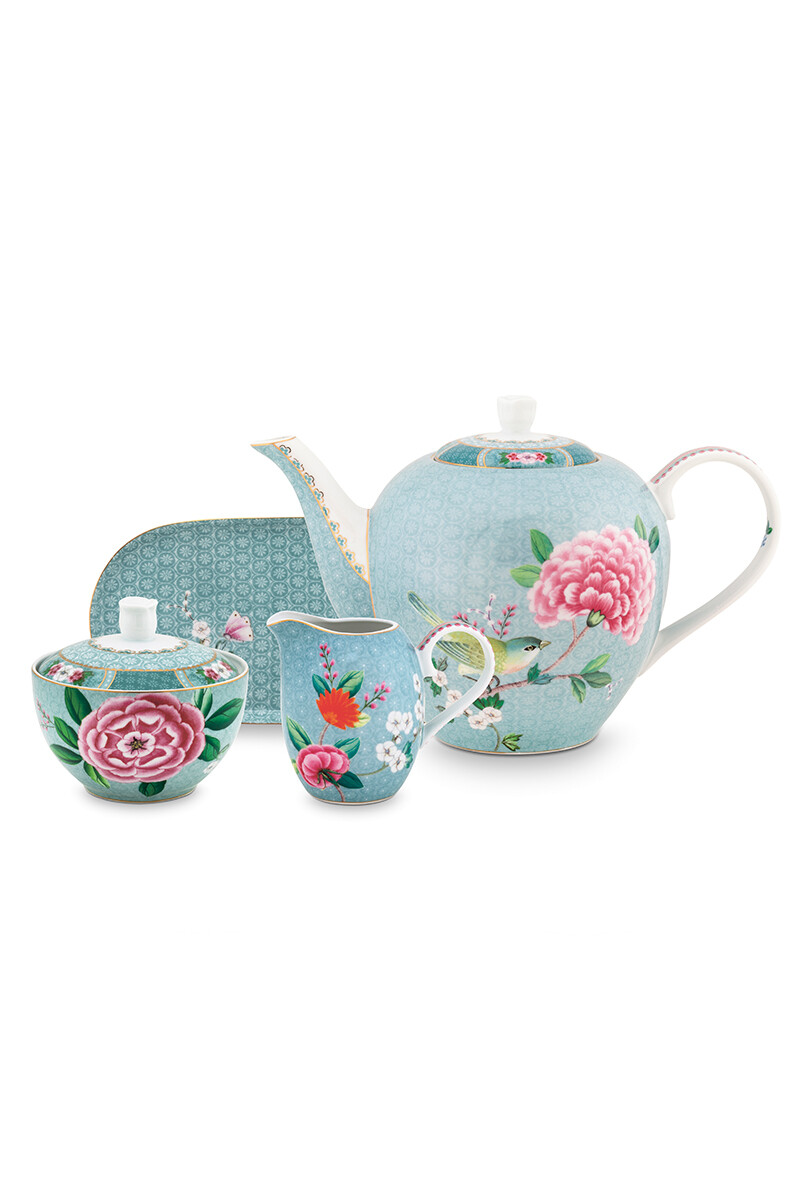 Color Relation Product Blushing Birds Thee Set/4 Blauw