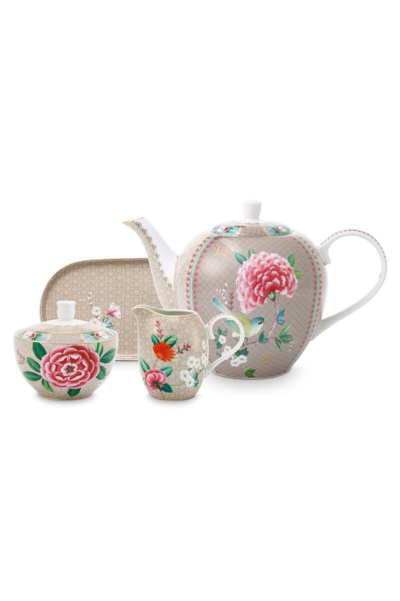Color Relation Product Blushing Birds Tea Set of 4 Khaki