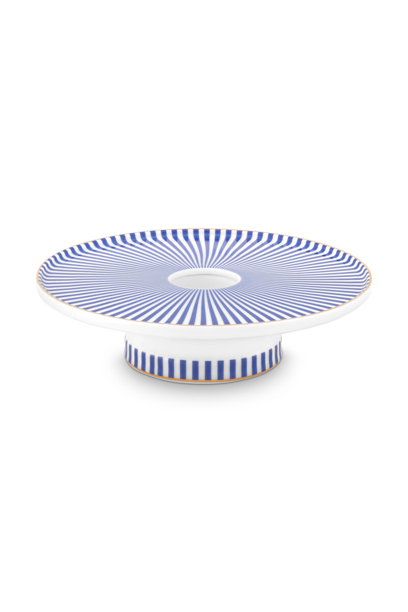 Color Relation Product Royal Stripes Candle Tray Blue/White 14 cm