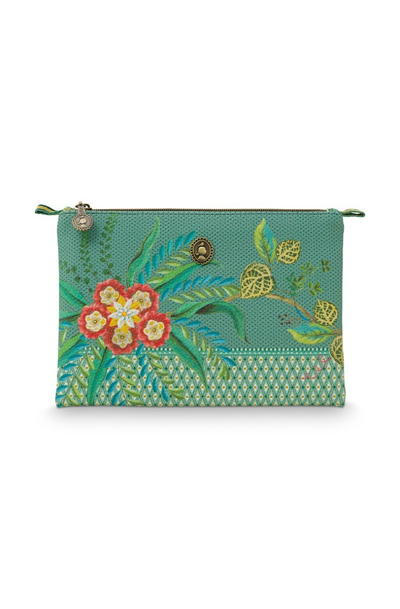 Color Relation Product Cosmetic Flat Pouch Medium Fleur Mix Green