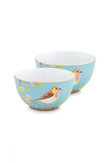 Early Bird Set of 2 Bowls Blue 15 cm