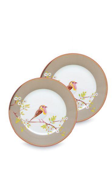 Early Bird Set of 2 Breakfast Plates Khaki 21 cm