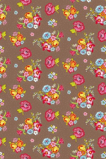 Bunch of Flowers wallpaper khaki - Khaki
