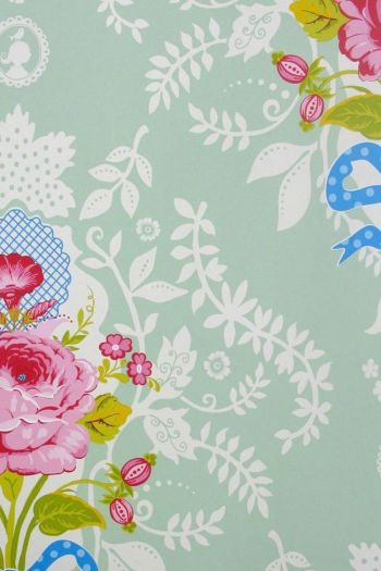 wallpaper-non-woven-flowers-green-pip-studio-shabby-chic