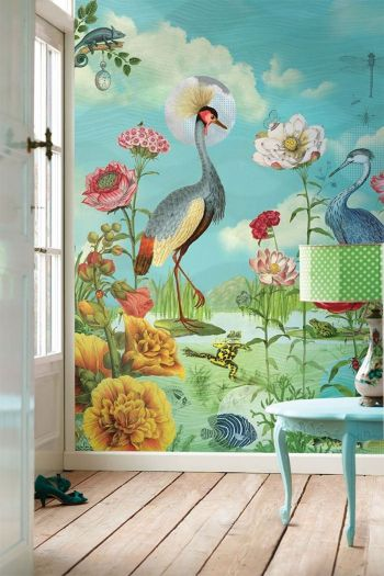 wallpower-non-woven-flowers-multiocolour-pip-studio-kiss-the-frog