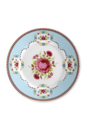 Floral cake plate blue