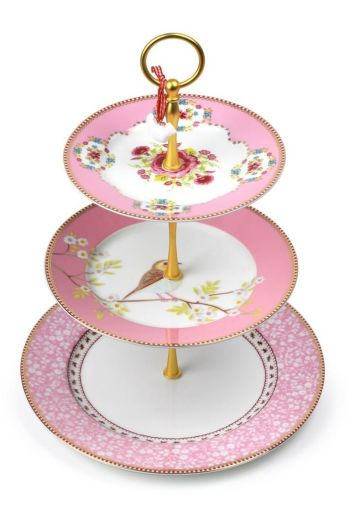 Floral Cake Stand 3 Levels Pink