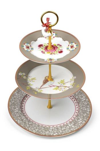 Floral Cake Stand 3 Levels Khaki