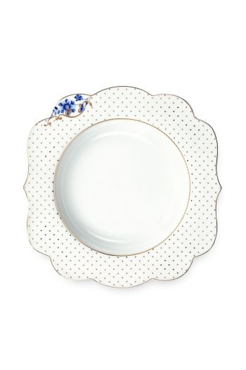 Royal White Soup plate Golden Dots 23,5 cm