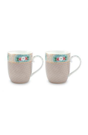 Blushing Birds Set of 2 Mugs Small Khaki