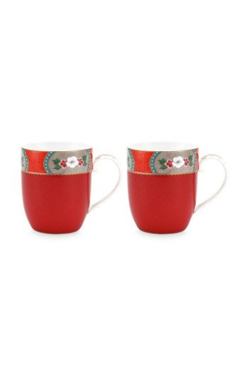 Blushing Birds Set of 2 Mugs Small Red