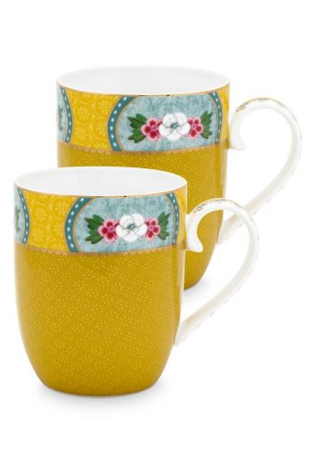 Blushing Birds Set of 2 Mugs small Yellow