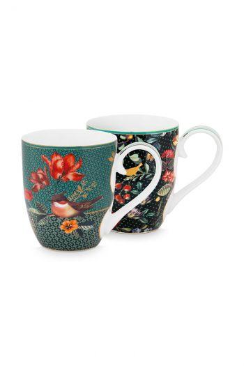 Mug-XL-set-450-ml-2-mugs-green-gold-details-winter-wonderland-pip-studio
