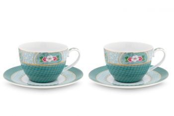 Blushing Birds Set of 2 Cappuccino Cups & Saucers blue