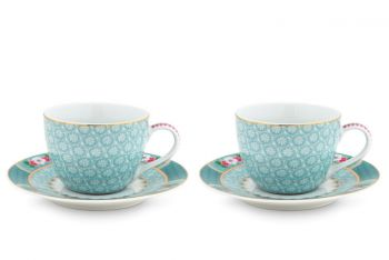 Blushing Birds Set of 2 Espresso Cups & Saucers blue