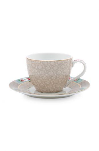 Blushing Birds Espresso Cup & Saucer Khaki
