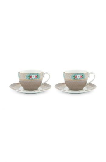Blushing Birds Set of 2 Cappuccino Cups & Saucers Khaki