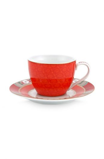 Blushing Birds Espresso Cup & Saucer Red