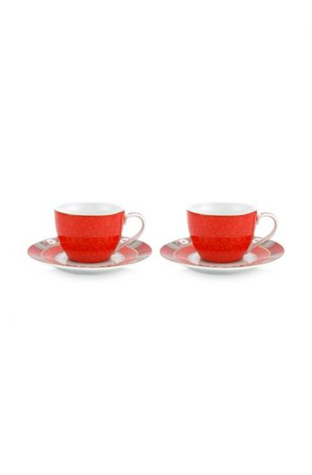 Blushing Birds Set of 2 Espresso Cups & Saucers Red