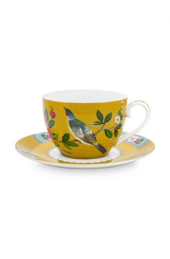 Blushing Birds Cup & Saucer Yellow